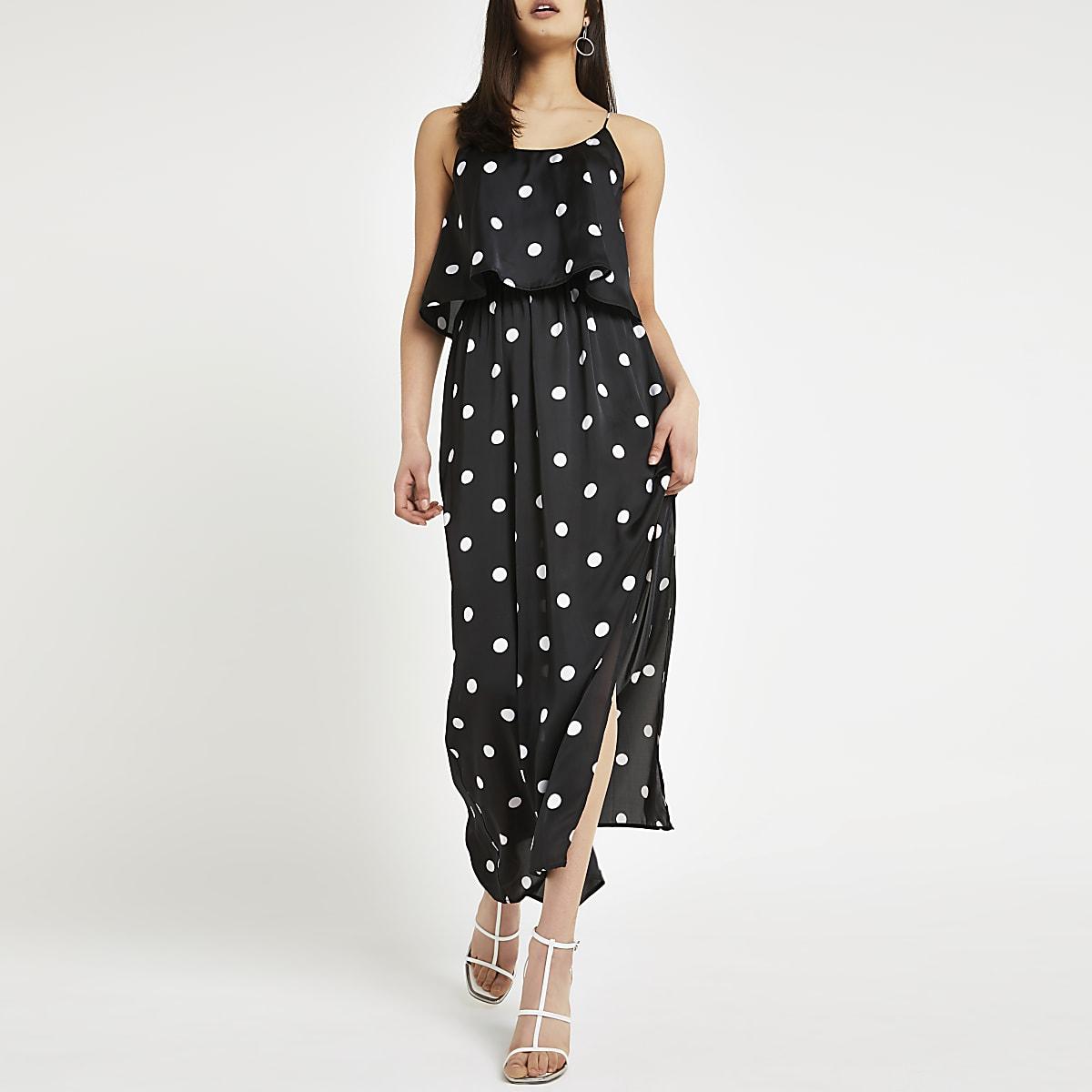 Zwarte gelaagde maxi-jurk met stippen