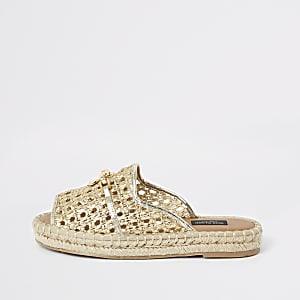 Sandales espadrilles dorées à bout ouvert coupe large