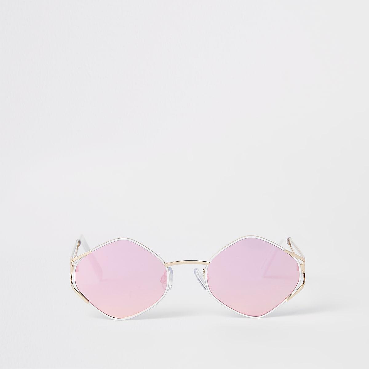 Revo smalle zonnnebril met goudkleurige zeshoekige glazen