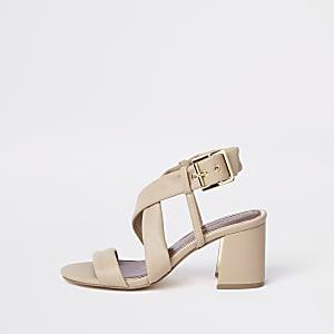 Beige wide fit cross strap block heel sandal