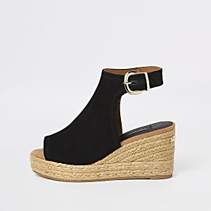 Black wide fit espadrille platform wedges