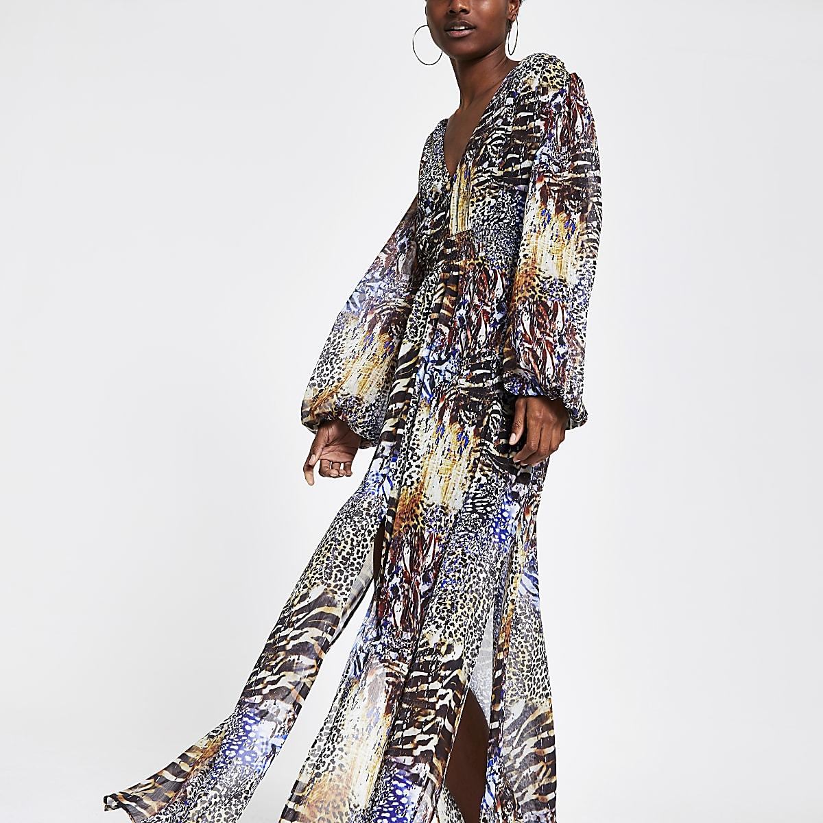 Black animal print maxi dress