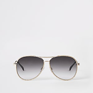 Gold glitter smoke lens aviator sunglasses