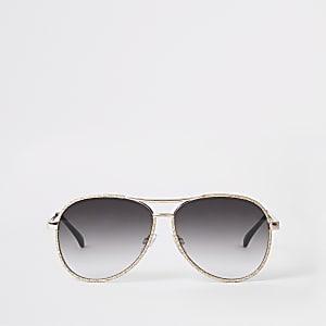 2c496df226463 Black  Brown  Green · Gold glitter smoke lens aviator sunglasses