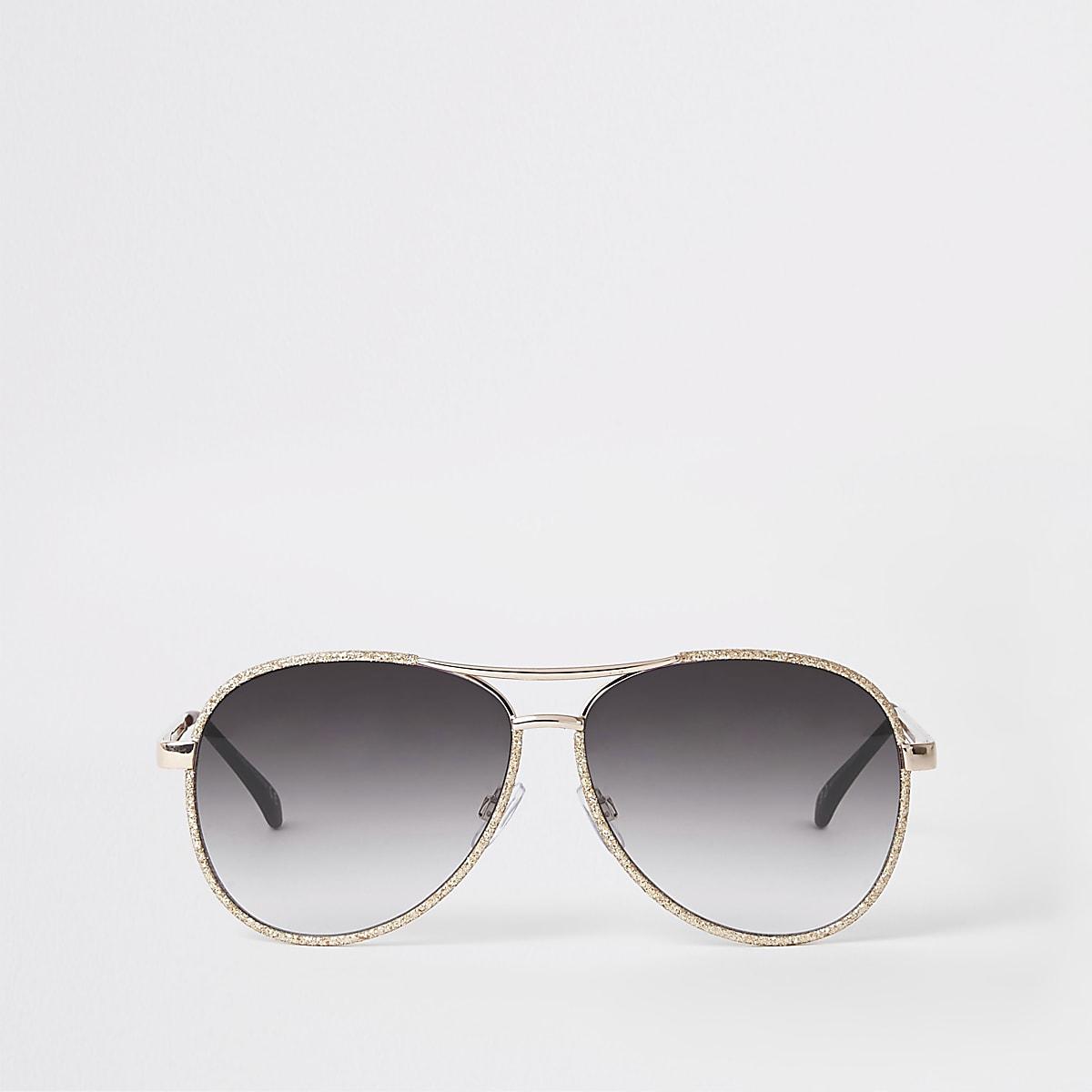 Gold glitter smoke lens aviator sunglasses