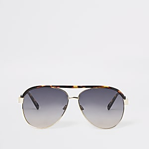 Goldene Pilotensonnenbrille mit Schildpattmuster