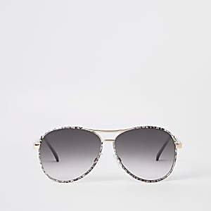 Gold snake print aviator sunglasses