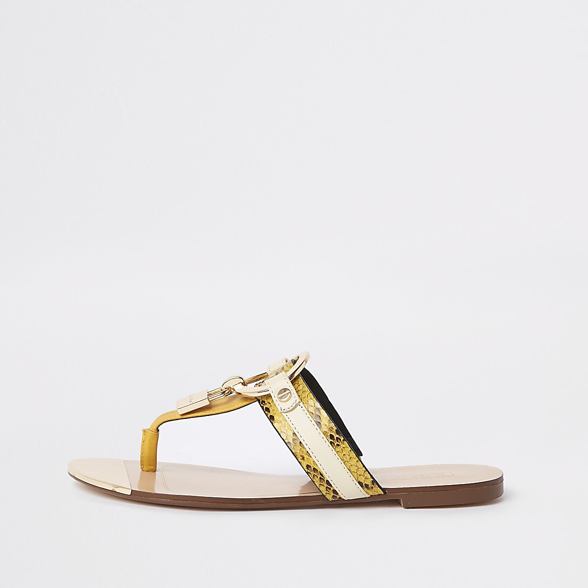 Yellow wide fit padlock sandals