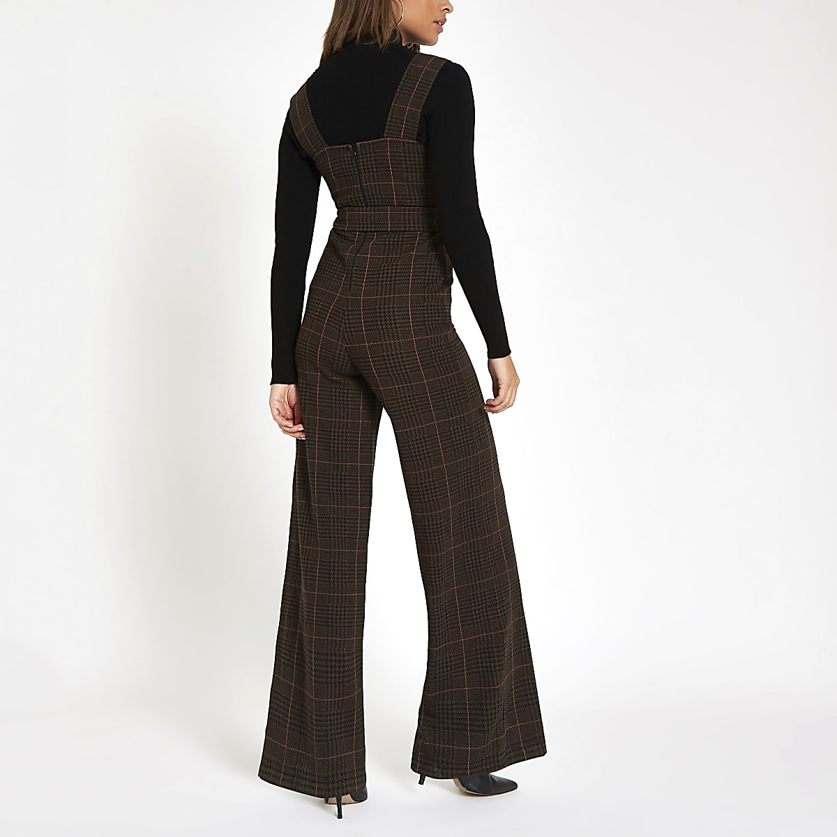 0ecb77d6765 Brown check belted wide leg jumpsuit - Jumpsuits - Playsuits ...