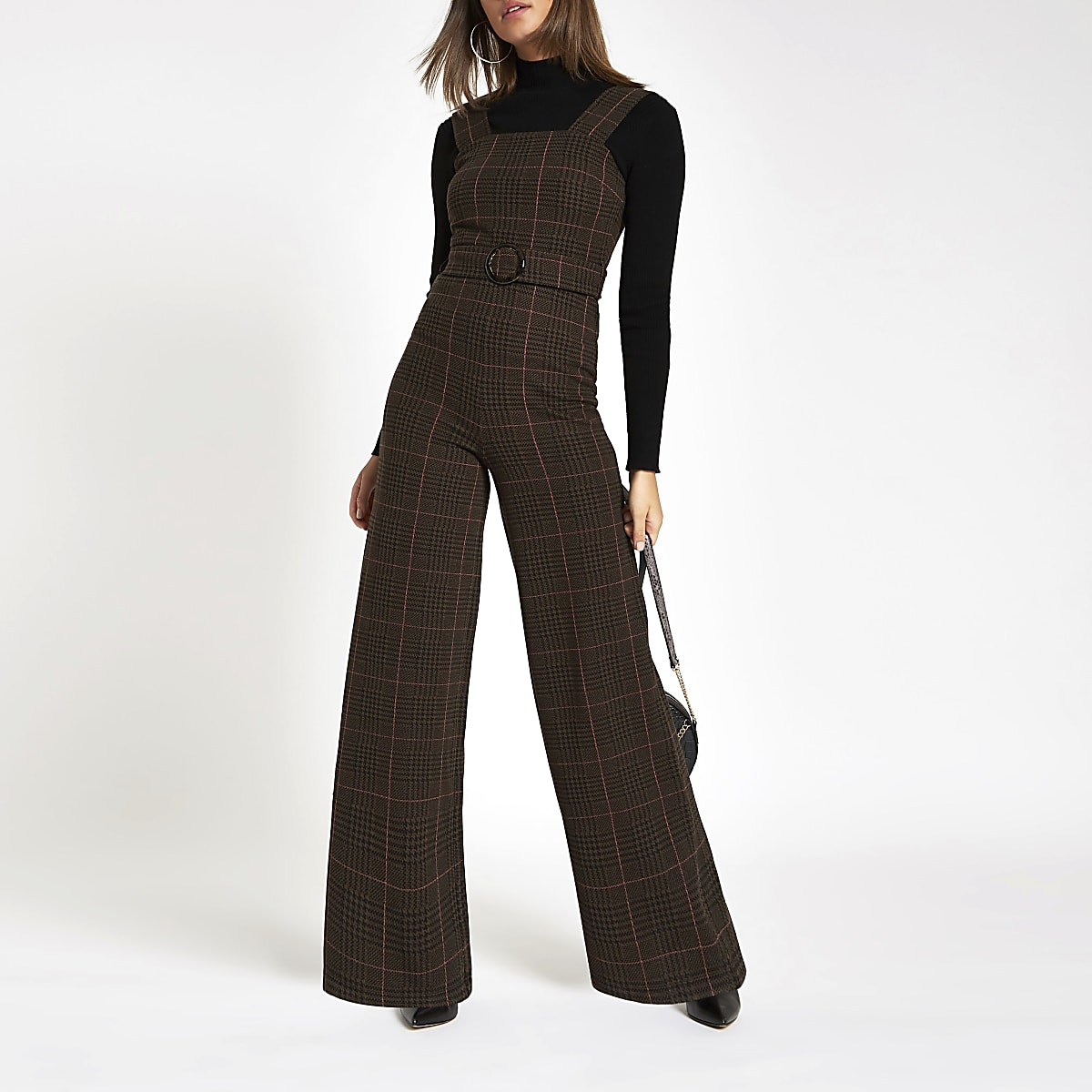 151da130dda Brown check belted wide leg jumpsuit - Jumpsuits - Playsuits   Jumpsuits -  women