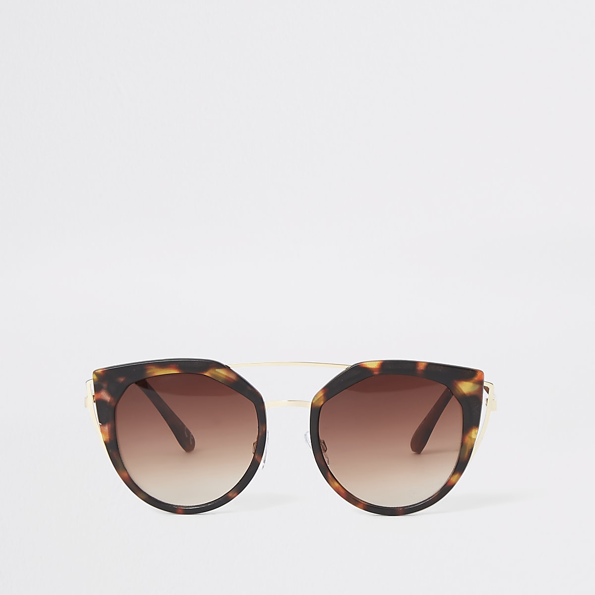 Gold tone tortoise cat eye sunglasses