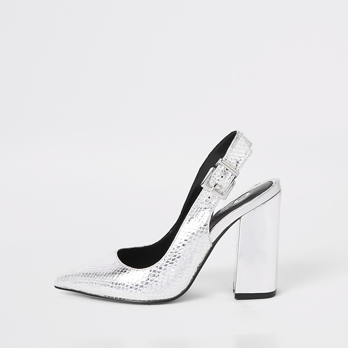 Silver block heel sling back court shoes