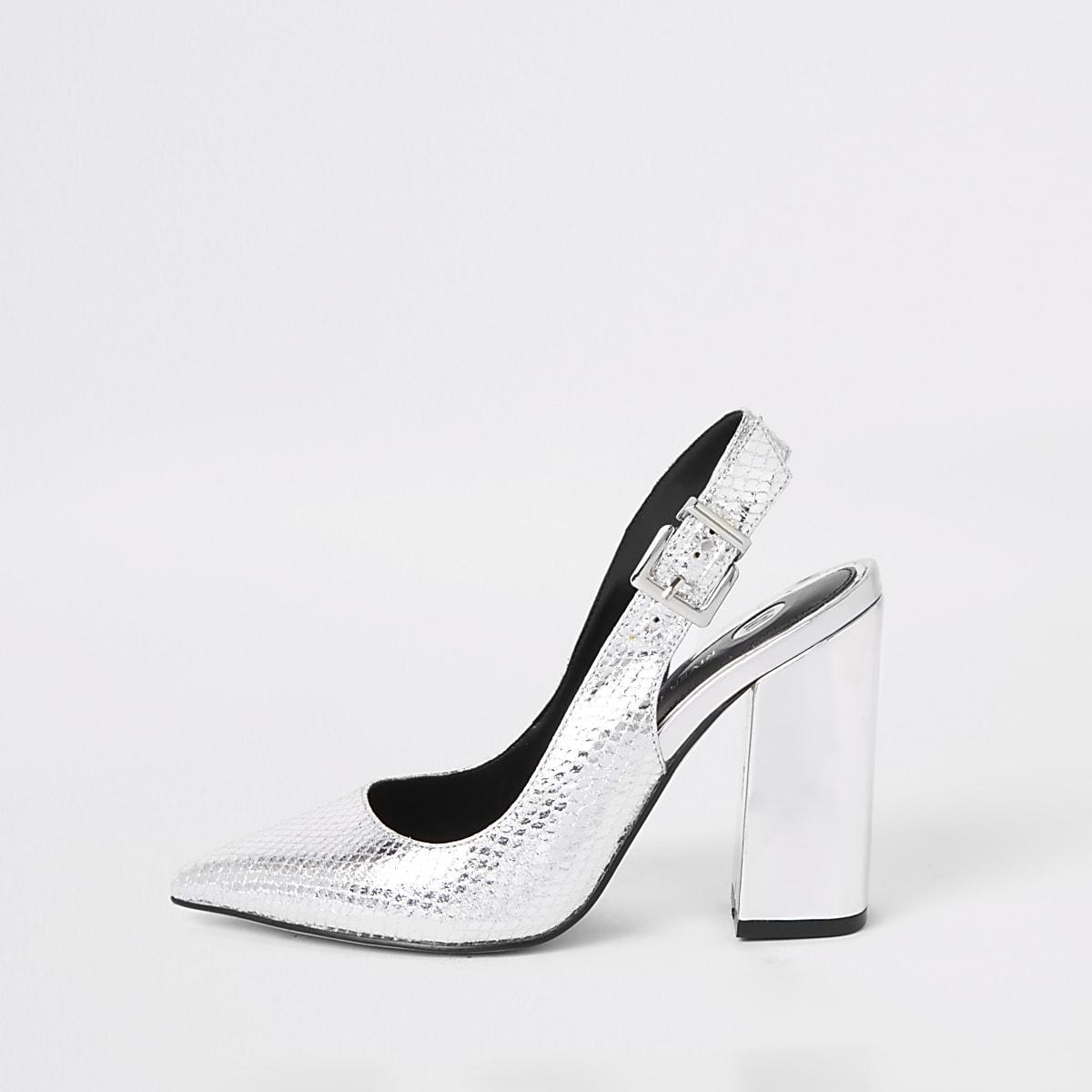 Silver block heel sling back pumps