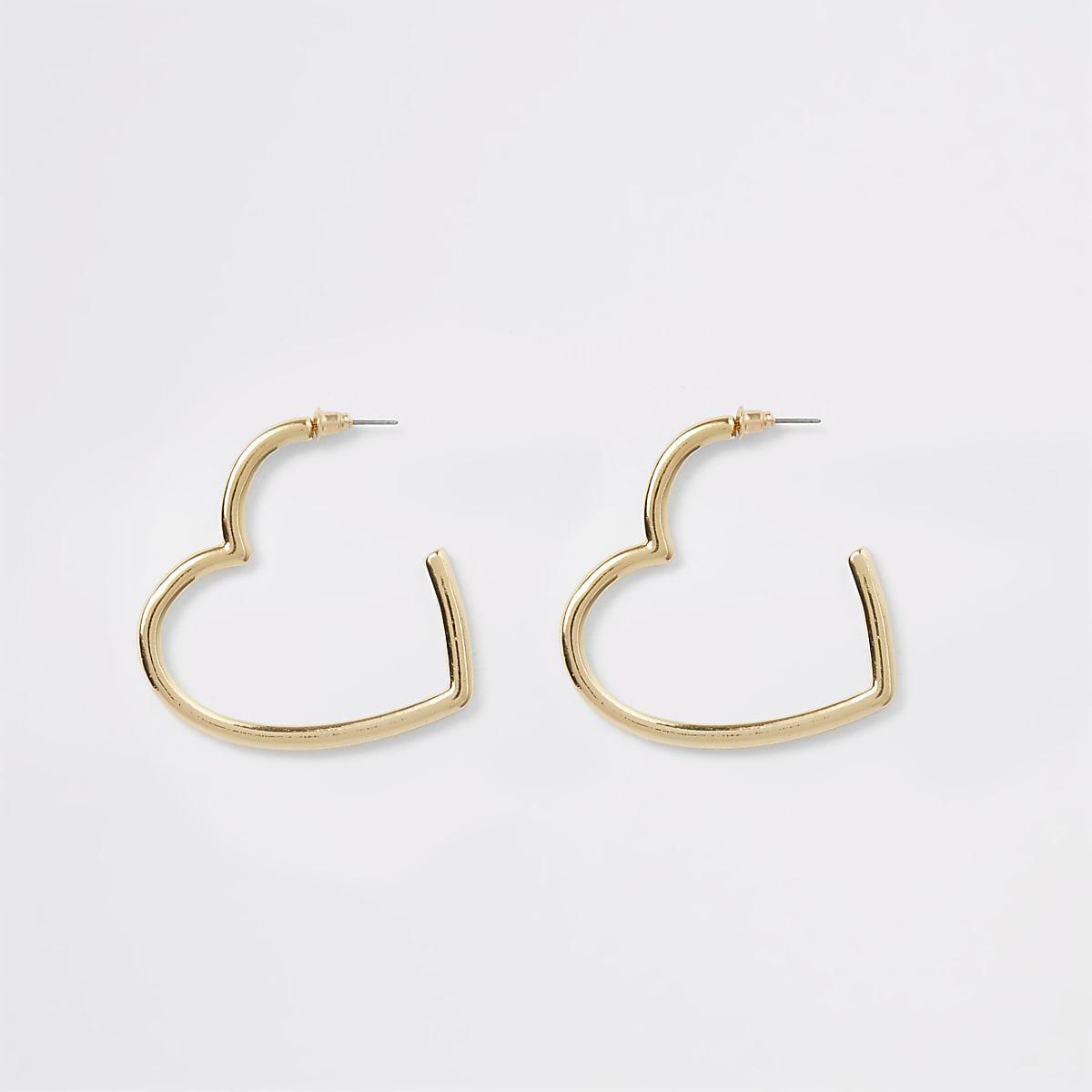Gold colour heart shape hoop earrings