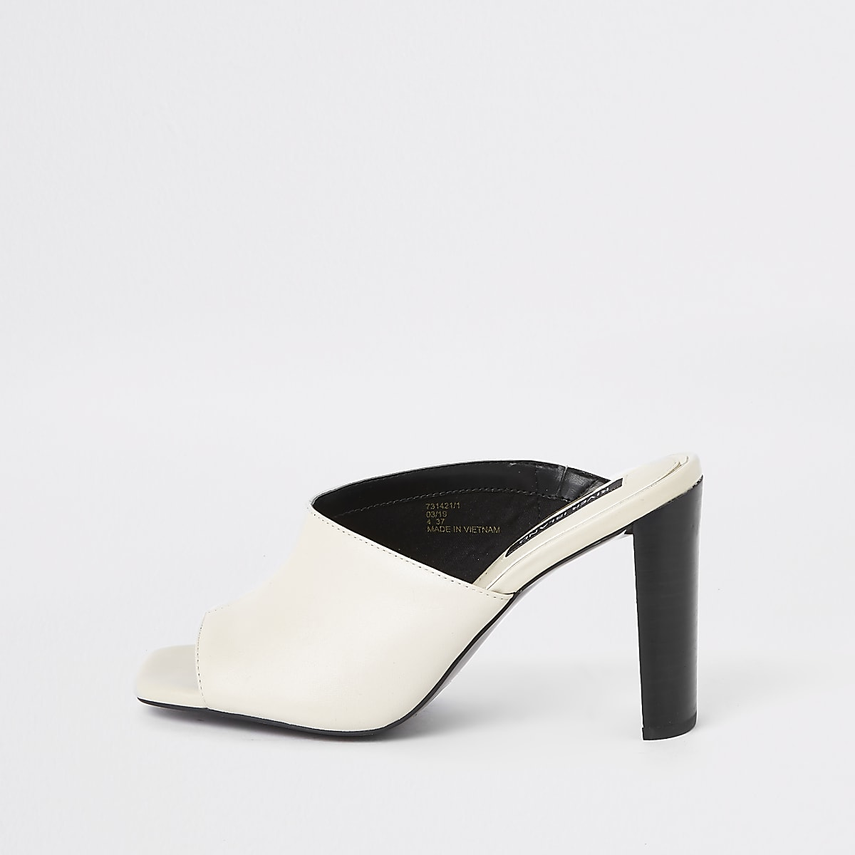 White leather asymmetric mules