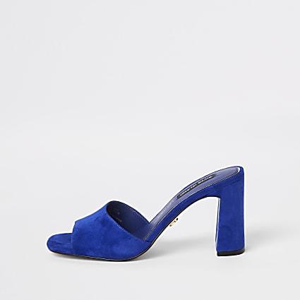 Blue suede mule sandals