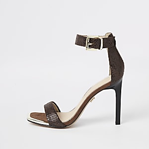 4bcd8668c3f Brown leather multi strap embellished sandal. Brown croc embossed barely  there sandals