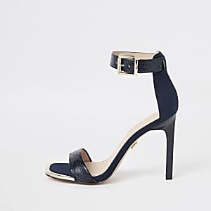 Marineblauwe minimalistische sandalen met krokodillenreliëf