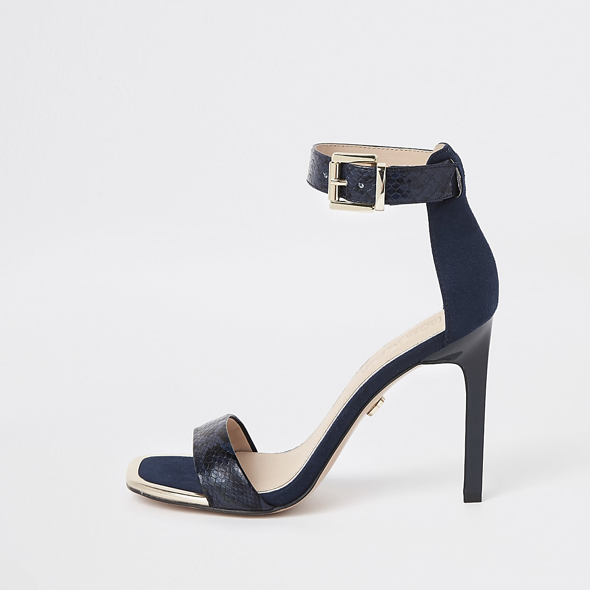 Navy croc embossed barely there sandals