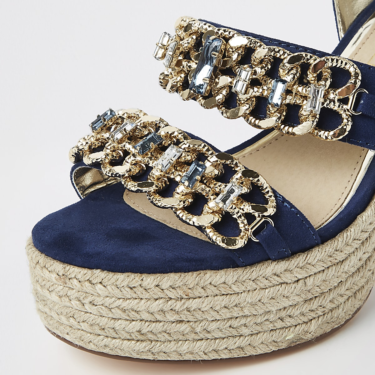 fcf6a0e9fc1e Navy chain espadrille block heel sandals - Sandals - Shoes   Boots ...