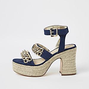 Sandales à chaînes bleu marine façon espadrille à talons carrés