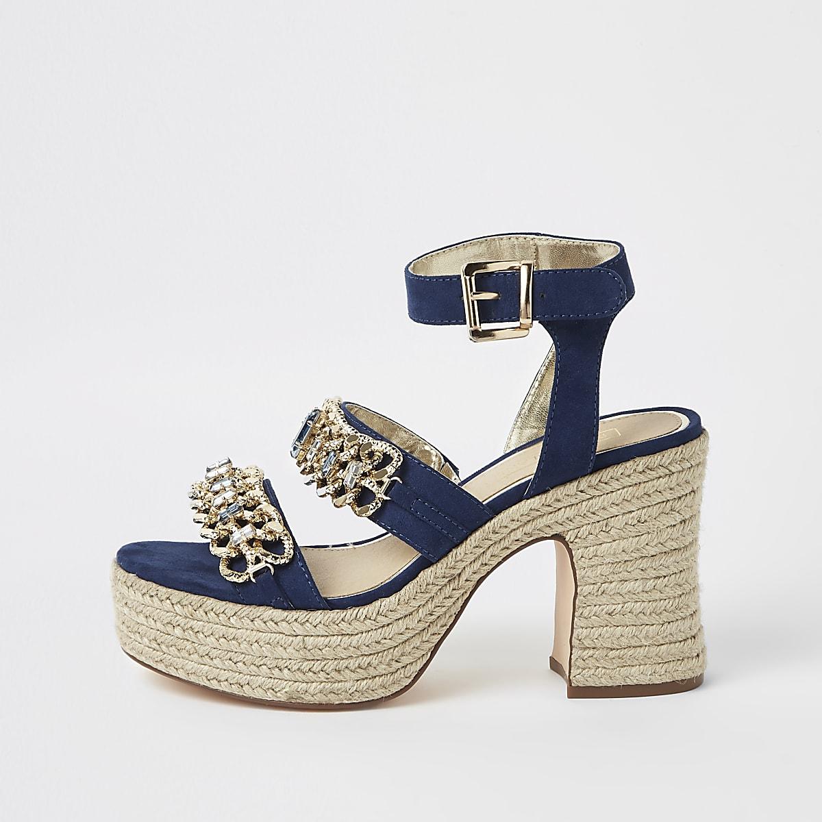 Navy chain espadrille block heel sandals