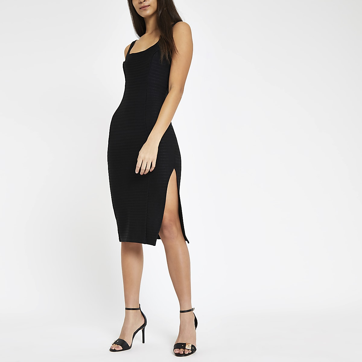 ef0ebba3e48 Black square neck bodycon midi dress - Bodycon Dresses - Dresses - women