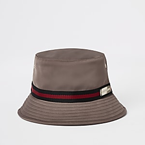 Dark beige taped bucket hat