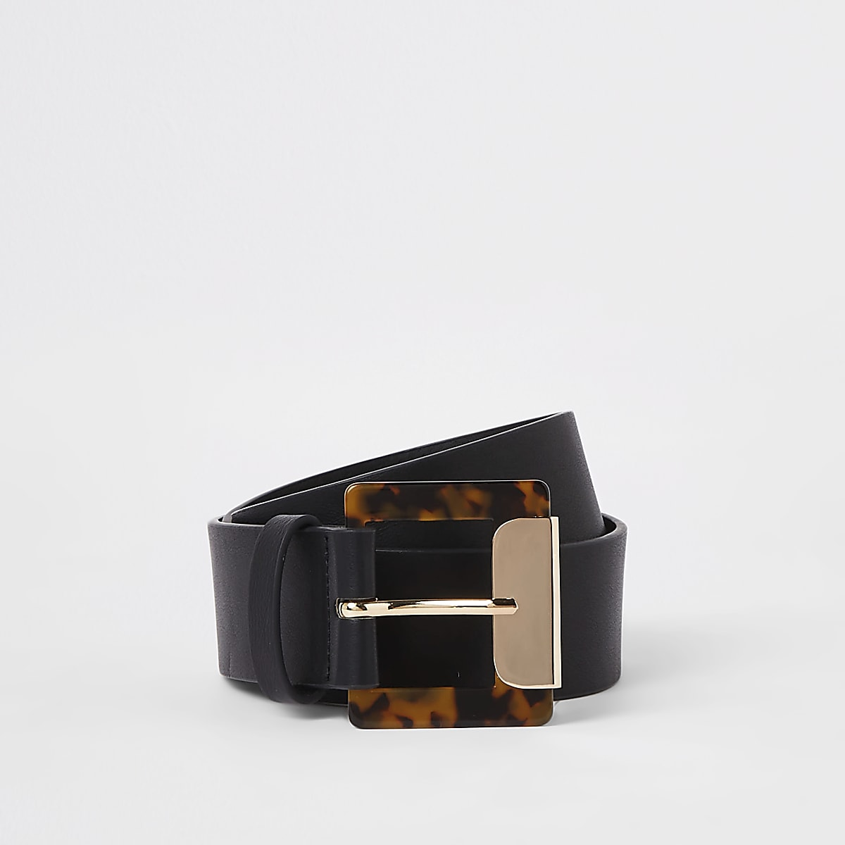 Black tortoise shell square buckle belt