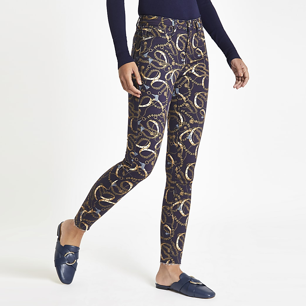 Molly - Marineblauwe jegging met kettingprint