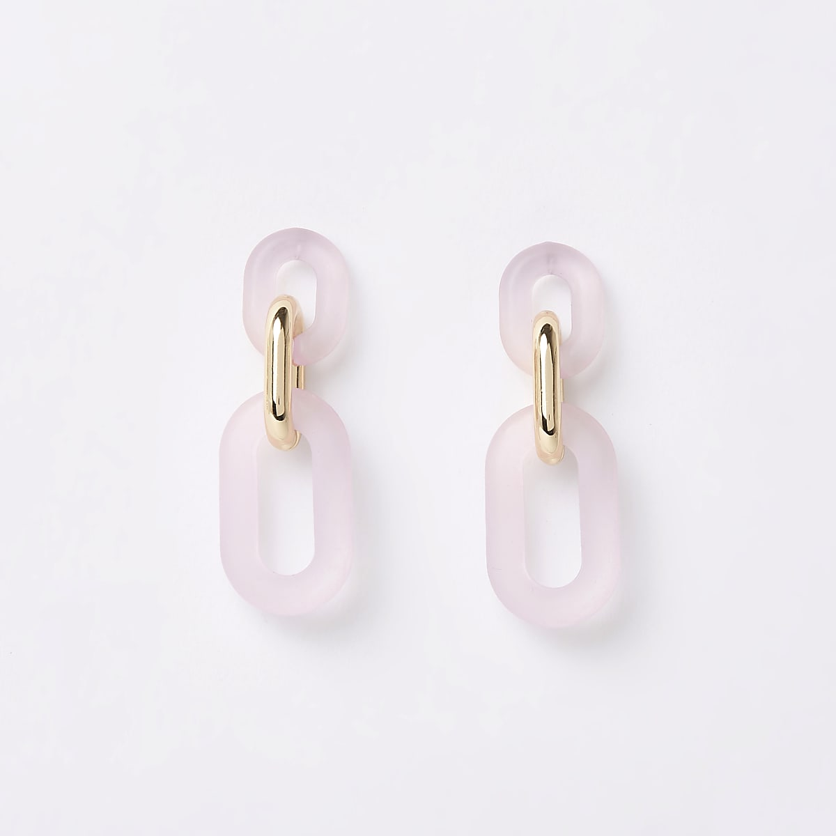 Light pink interlink drop earrings