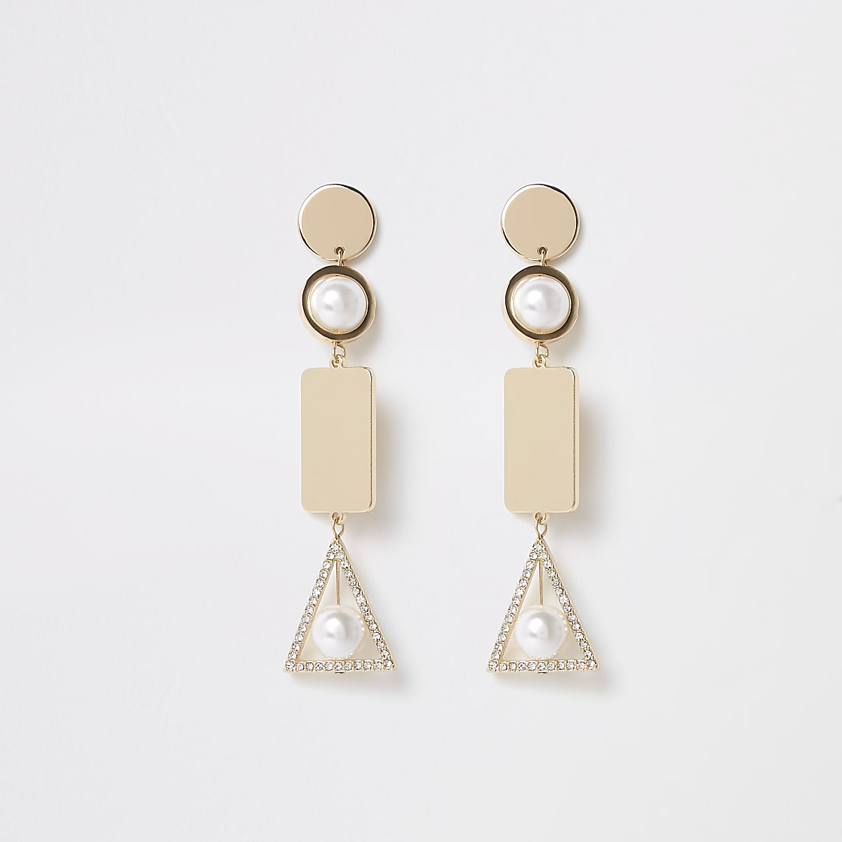 Gold color caged pearl dangle earrings