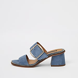 Blue suede block heel mule sandals