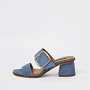 Mules en daim bleues à talon carré