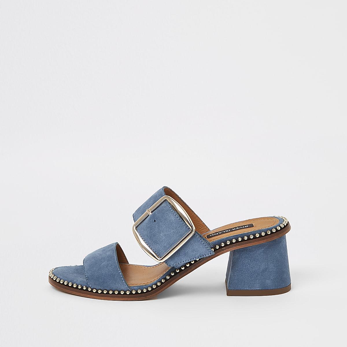 Blue suede block heel mule sandals