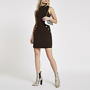Brown ponte button side mini dress