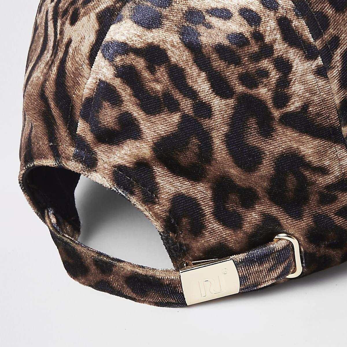 81478a275 Brown leopard print baseball cap