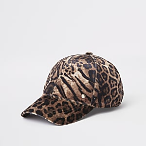 Braune Baseballkappe mit Leopardenprint
