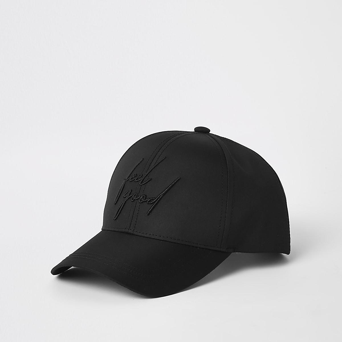 Zwarte baseballpet met 'feel good'-print