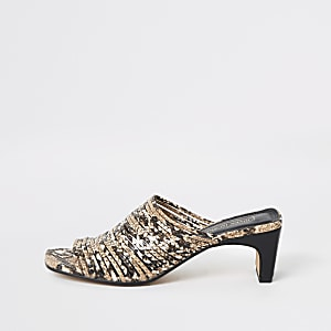 Brown snake print multi strap mules