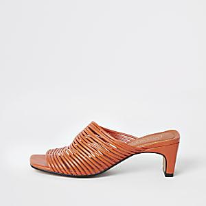 Orange multi strap mule
