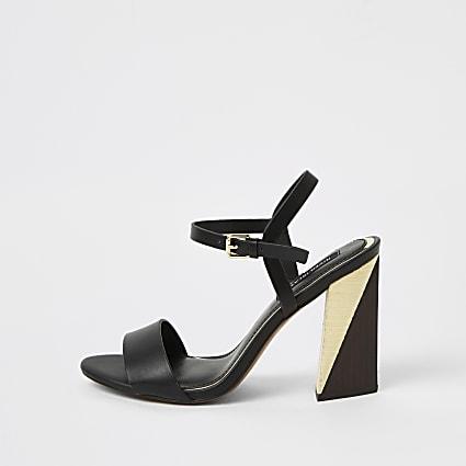 Black split block heel sandals