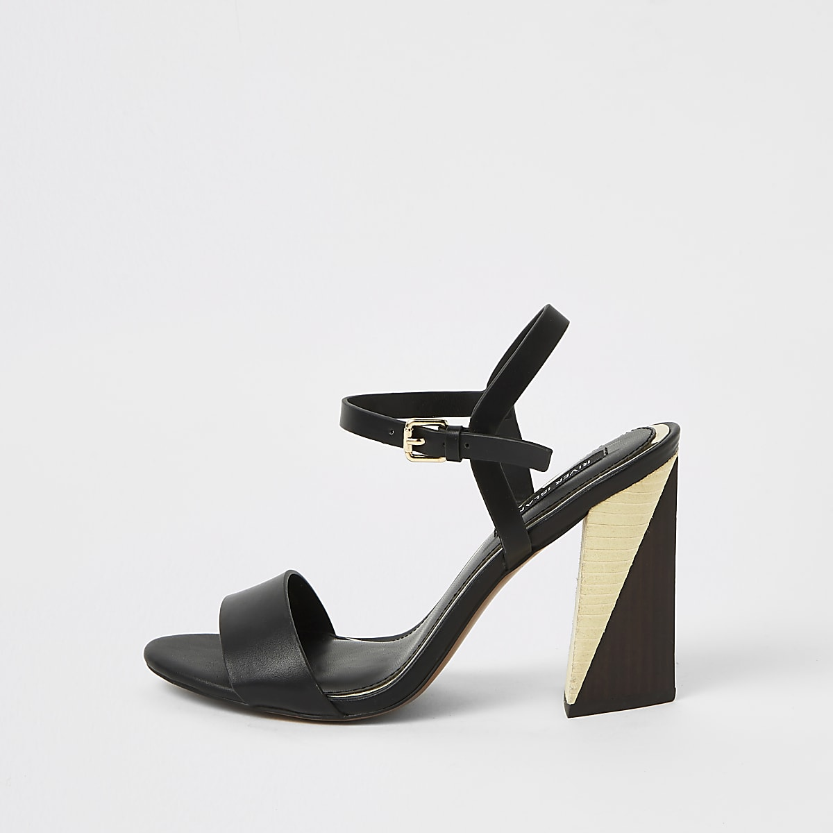 Black split block heel sandals