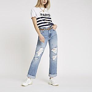 Mid blue boyfriend ripped jeans