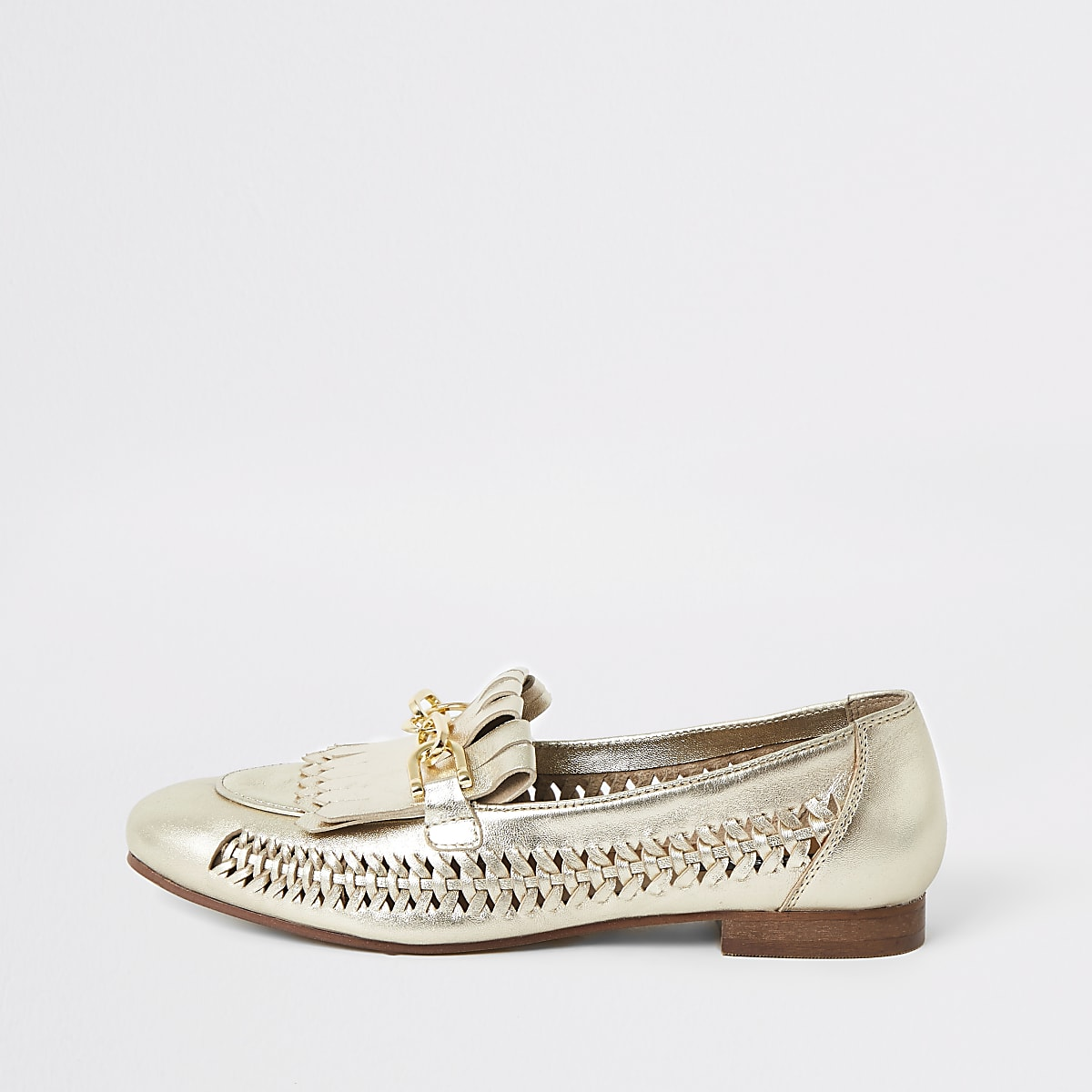 Gold leather woven loafers