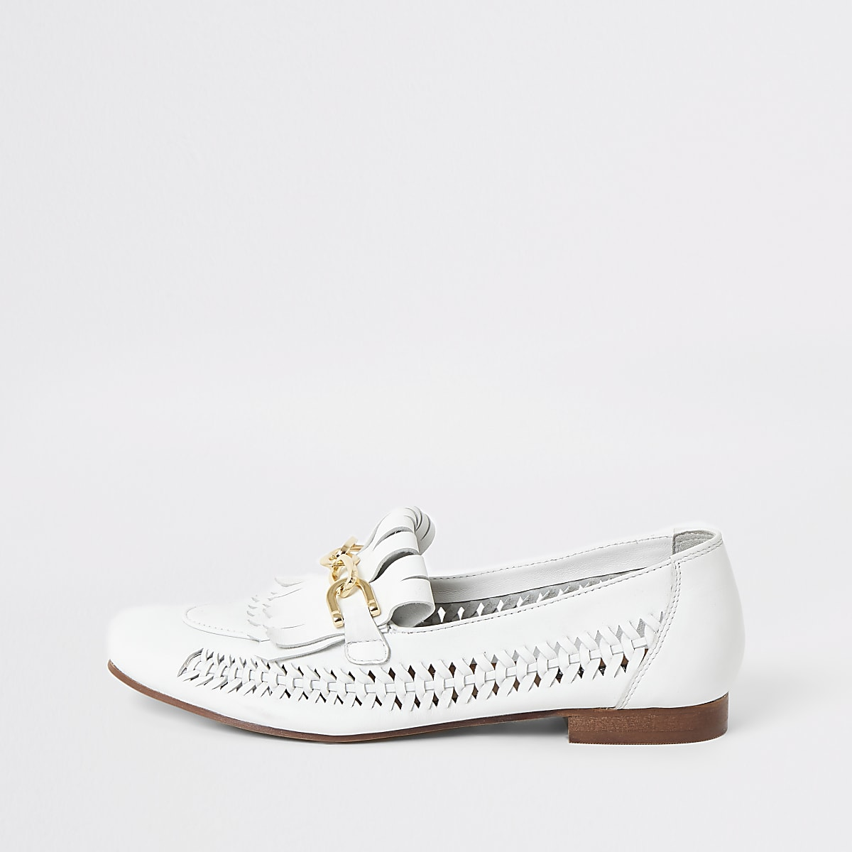 White leather woven loafers
