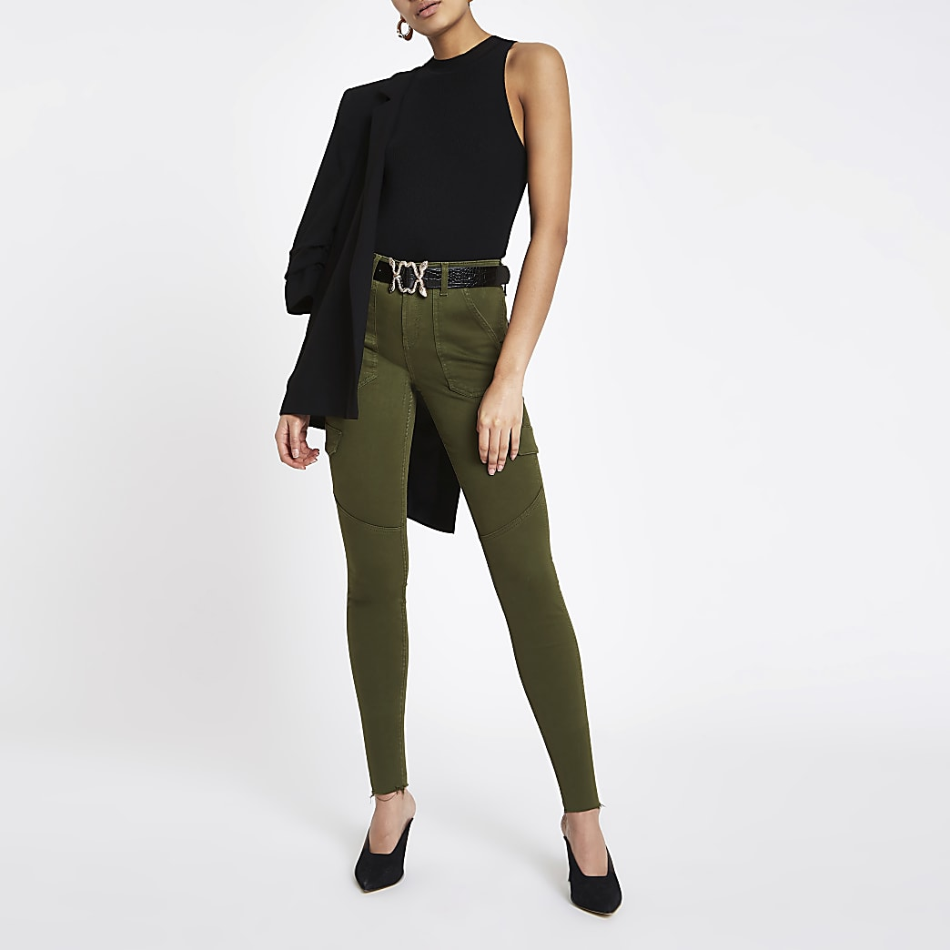 Amelie – Jean super skinny kaki style fonctionnel