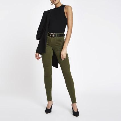 Khaki Amelie super skinny utility jeans