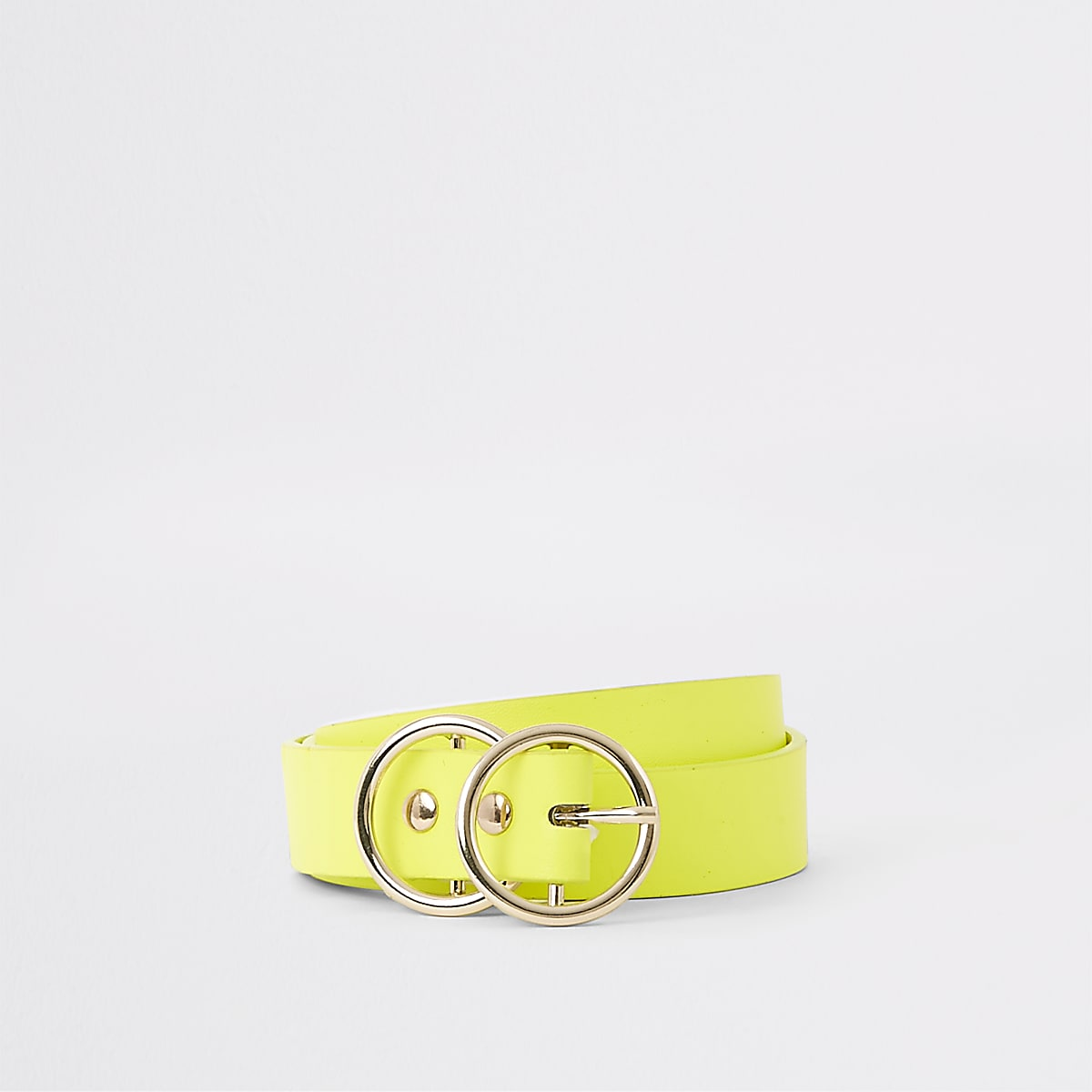 Neon yellow double ring mini jeans belt