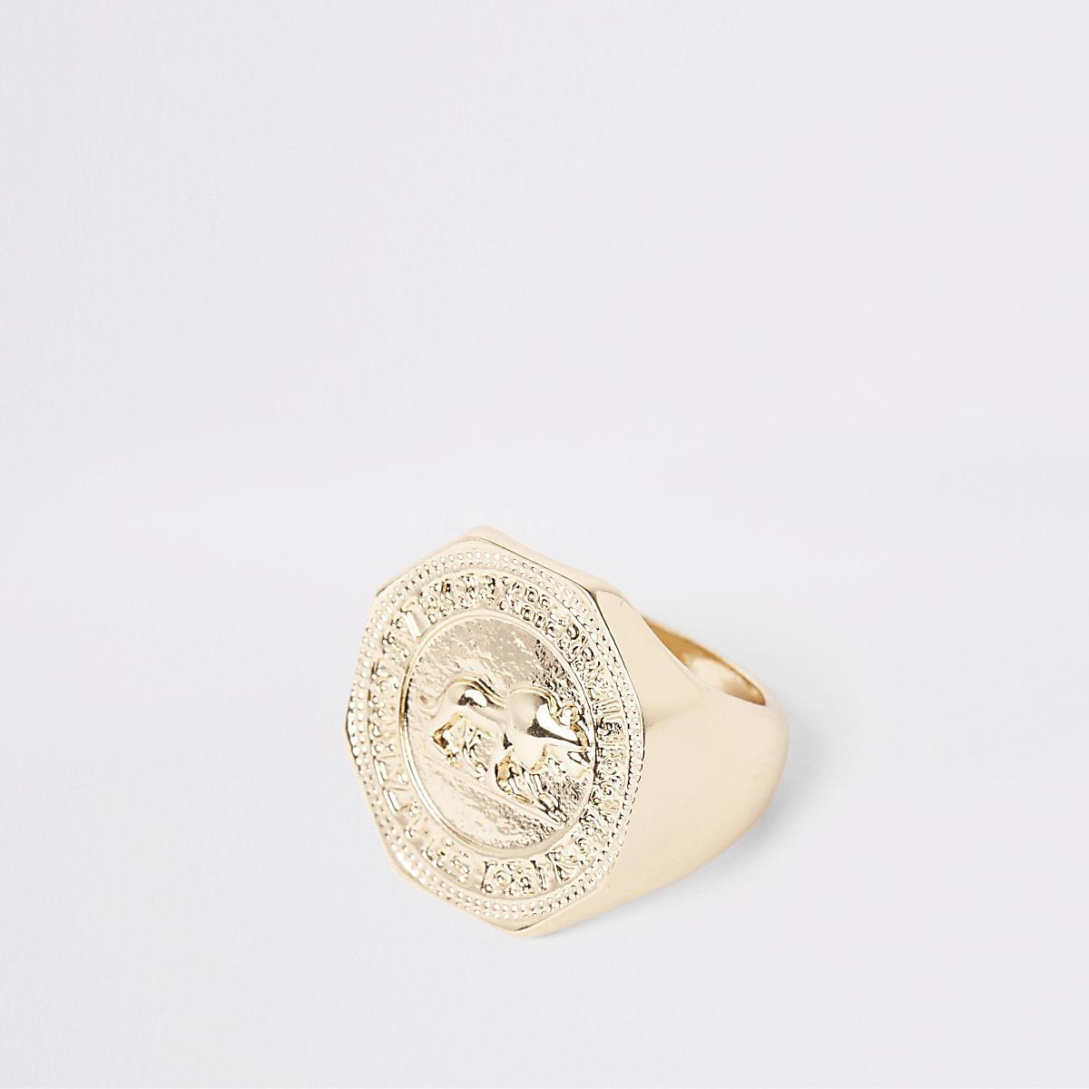 Gold colour hexagon coin ring